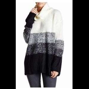 Colorblock cowl neck knit sweater